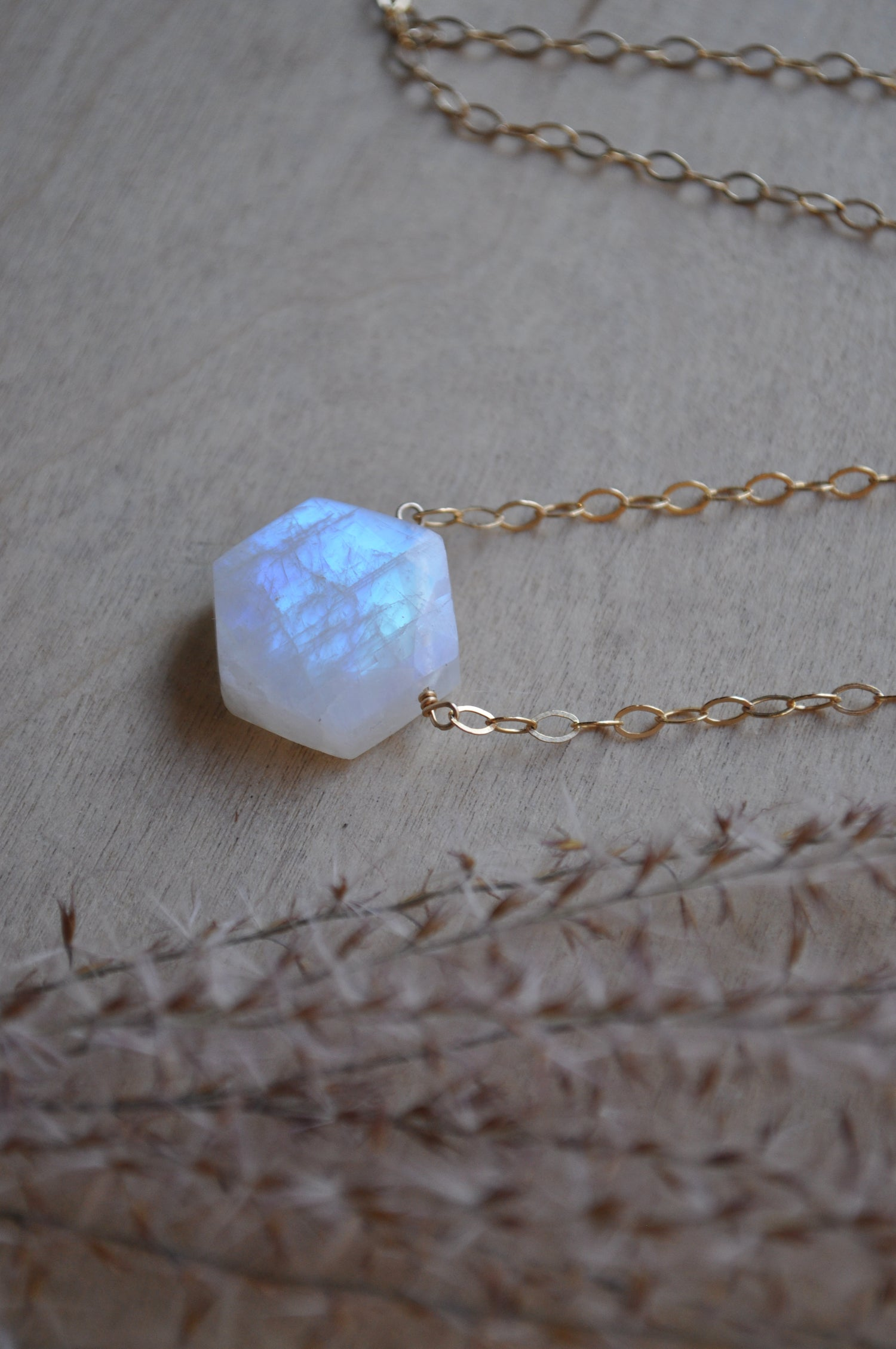 Image of Moonstone Hexagon Necklace on Gold Fill