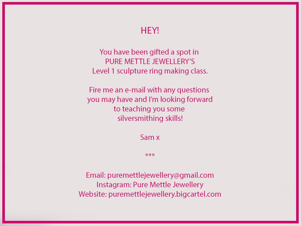 Level 1 sculpture ring making workshop gift package