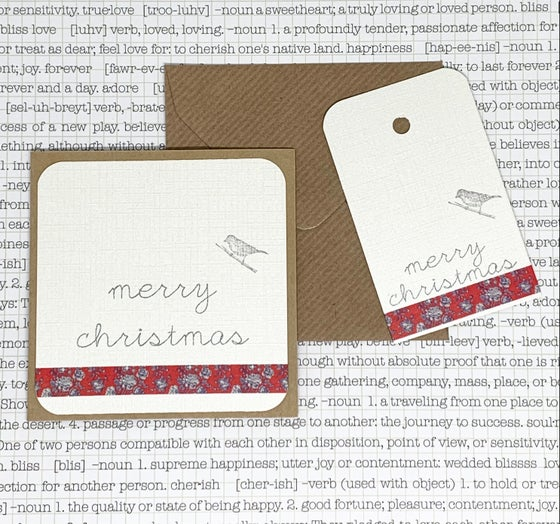 Image of christmas gift card & tag set - red