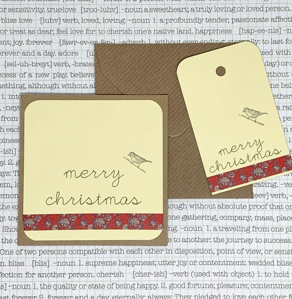 Image of christmas gift card & tag set - red