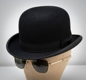 Image of 1915 John B Stetson Black Wool Bowler Hat 7 1/8 Philadelphia Steam Punk Hat Old West Deadwood