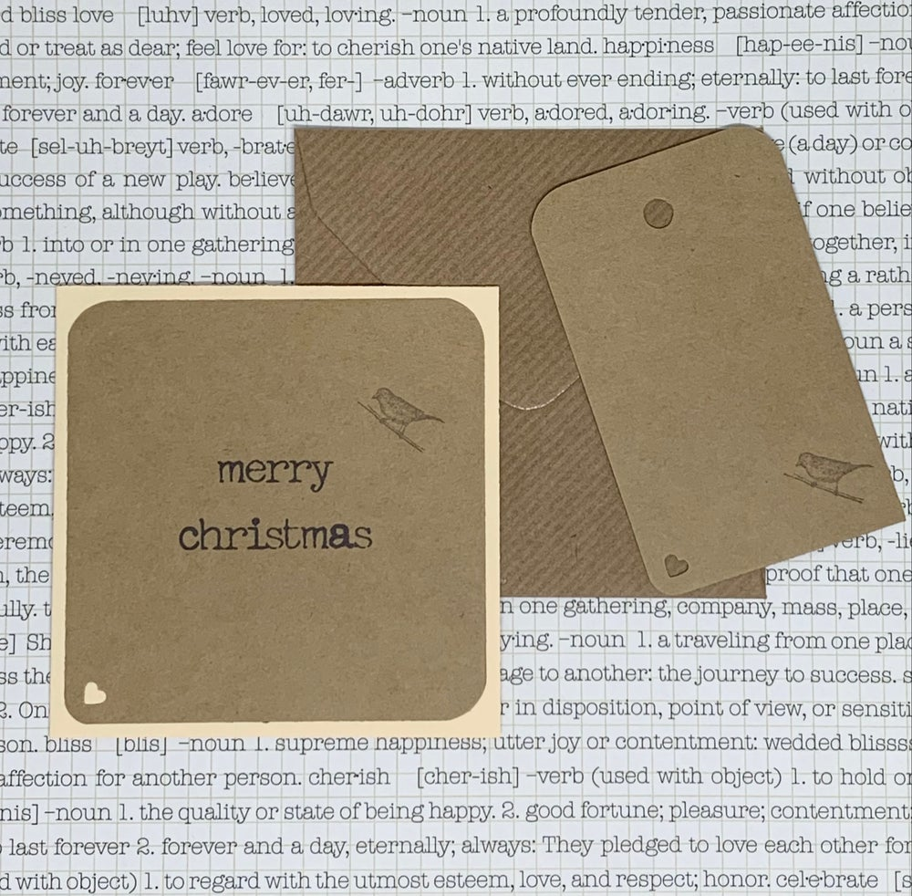 Image of christmas gift card & tag set - kraft