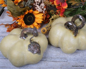 Image of  One Golden Yellow Pumpkin, Hand Sculpted Ceramic Pottery for Fall Thanksgiving Decorating