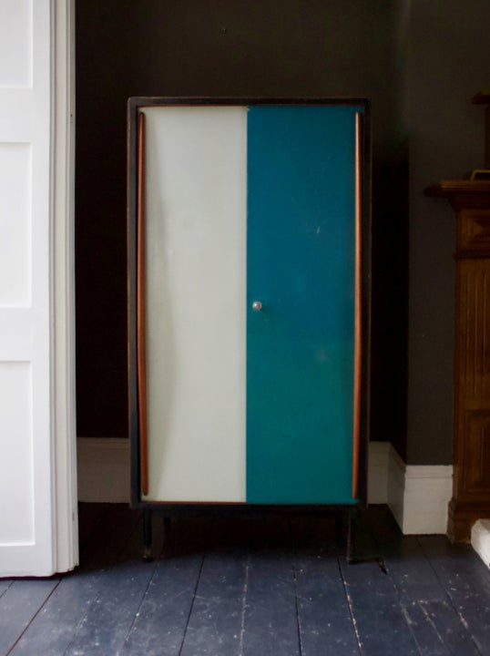 Image of Small Cabinet with Blue/Grey Metal Doors by Van Der Meeren, 1950s