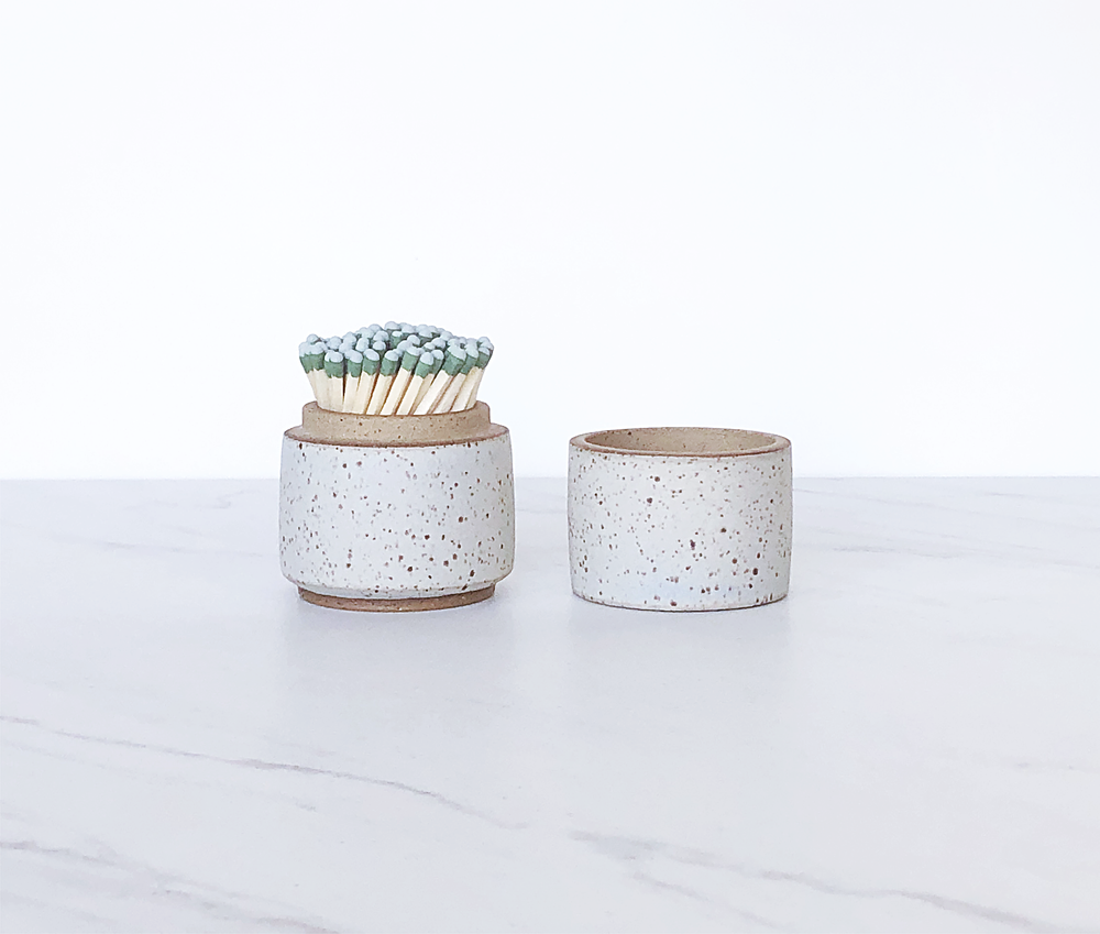 Image of Ceramic match holder with lid, glazed in matte glacier