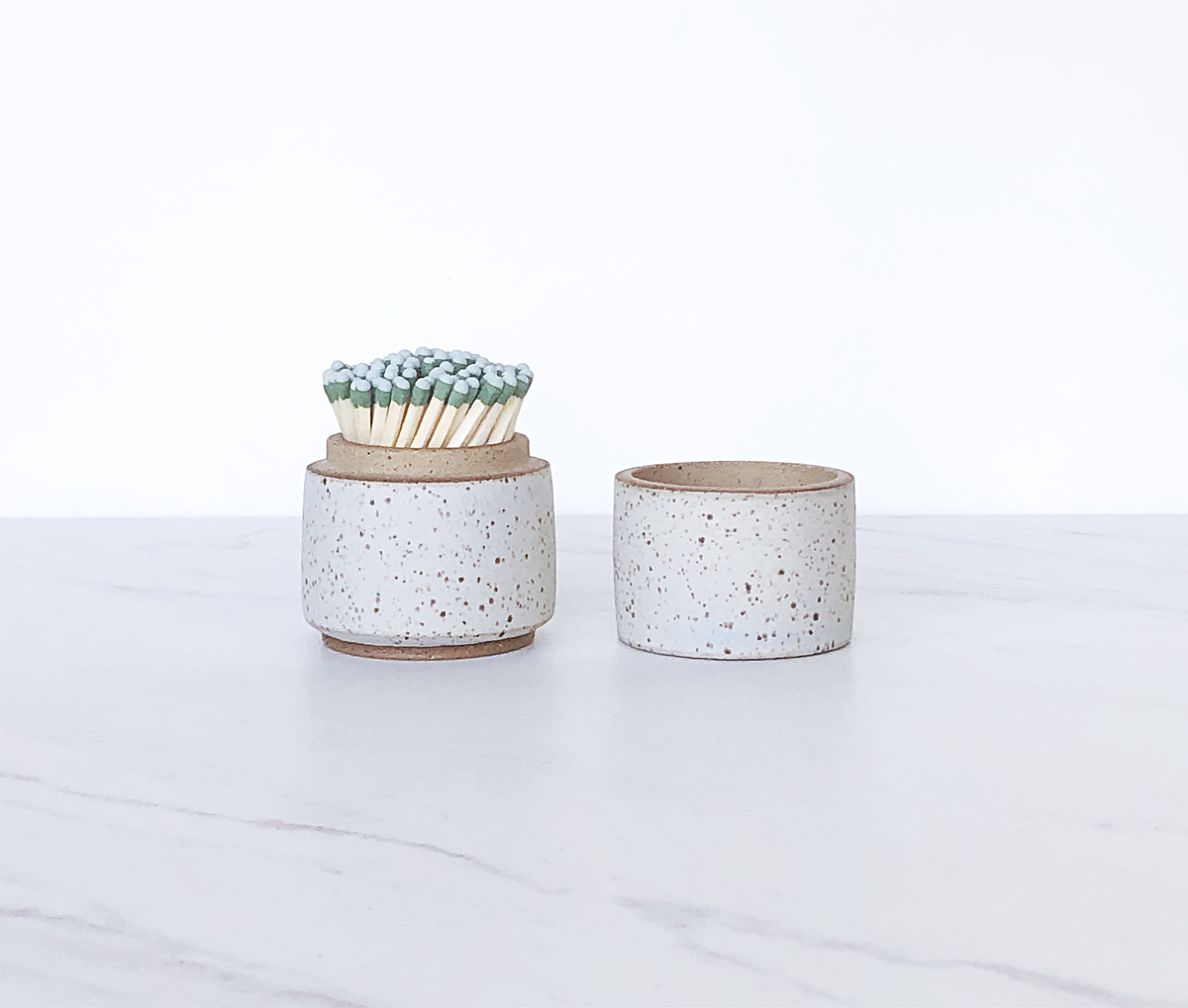 Image of Ceramic match holder with lid, glazed in eggshell blue