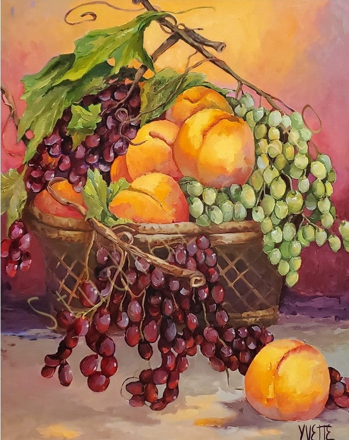 Image of Grapes and Peaches by Yvette Galliher