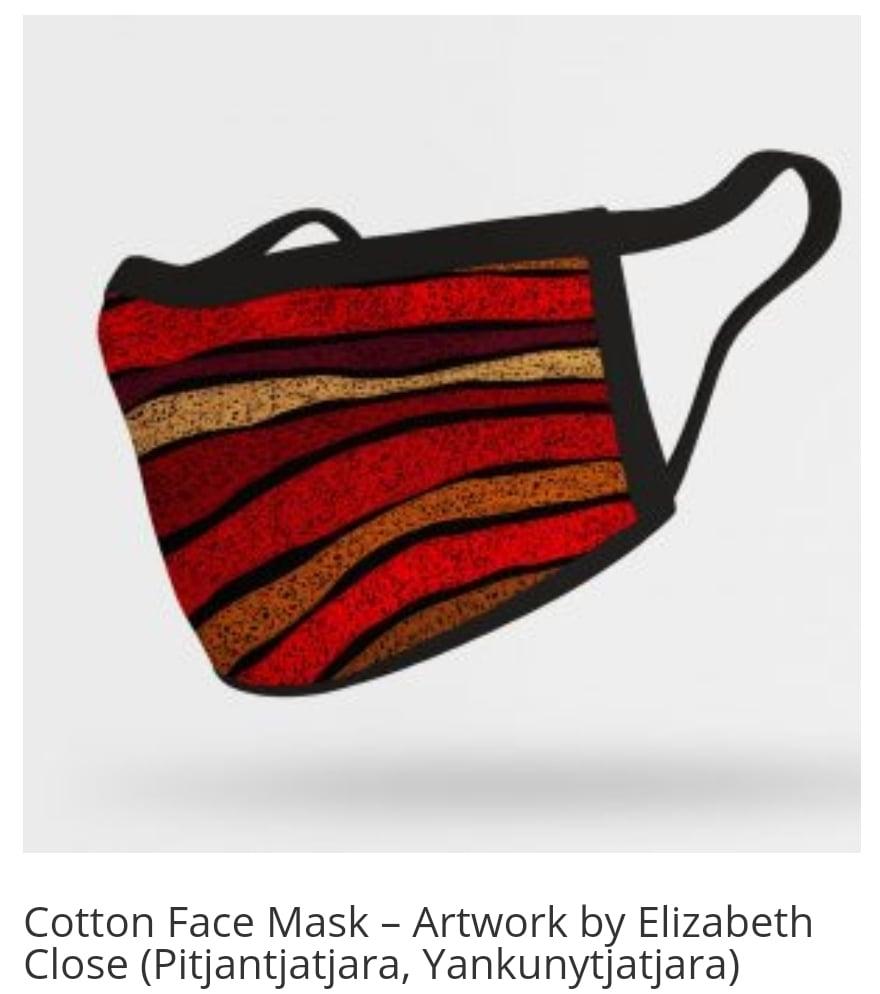 Image of Ochre Dawn Red Elizabeth Close Cotton face mask.