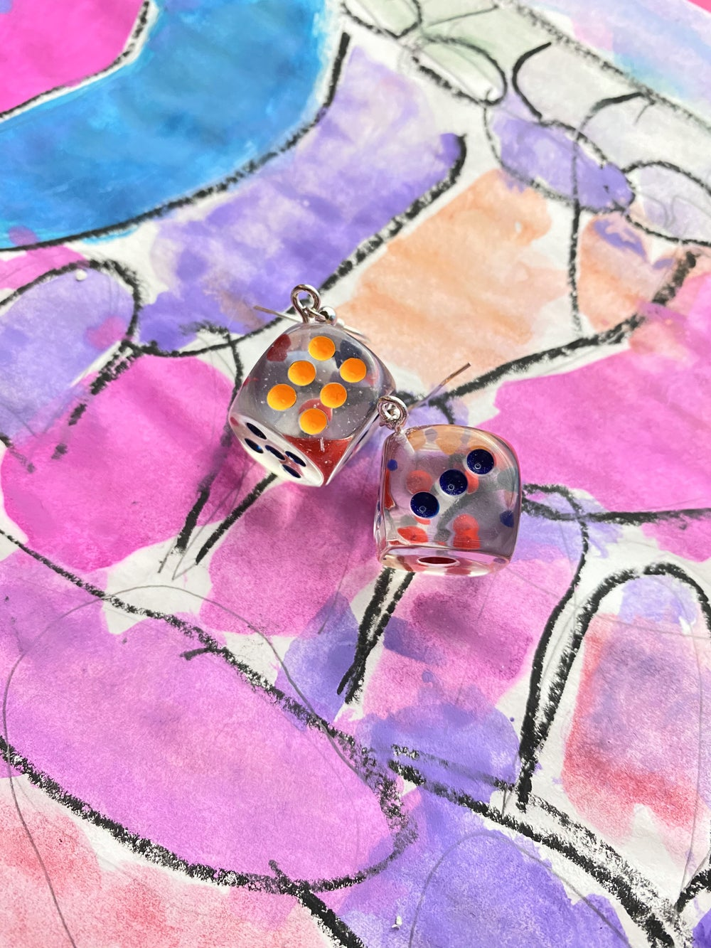 Image of CLEAR DICE EARRINGS