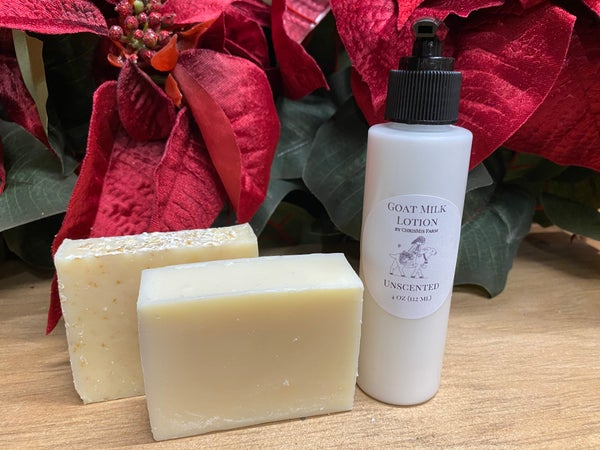 Image of Unscented goat milk soap and lotion gift set