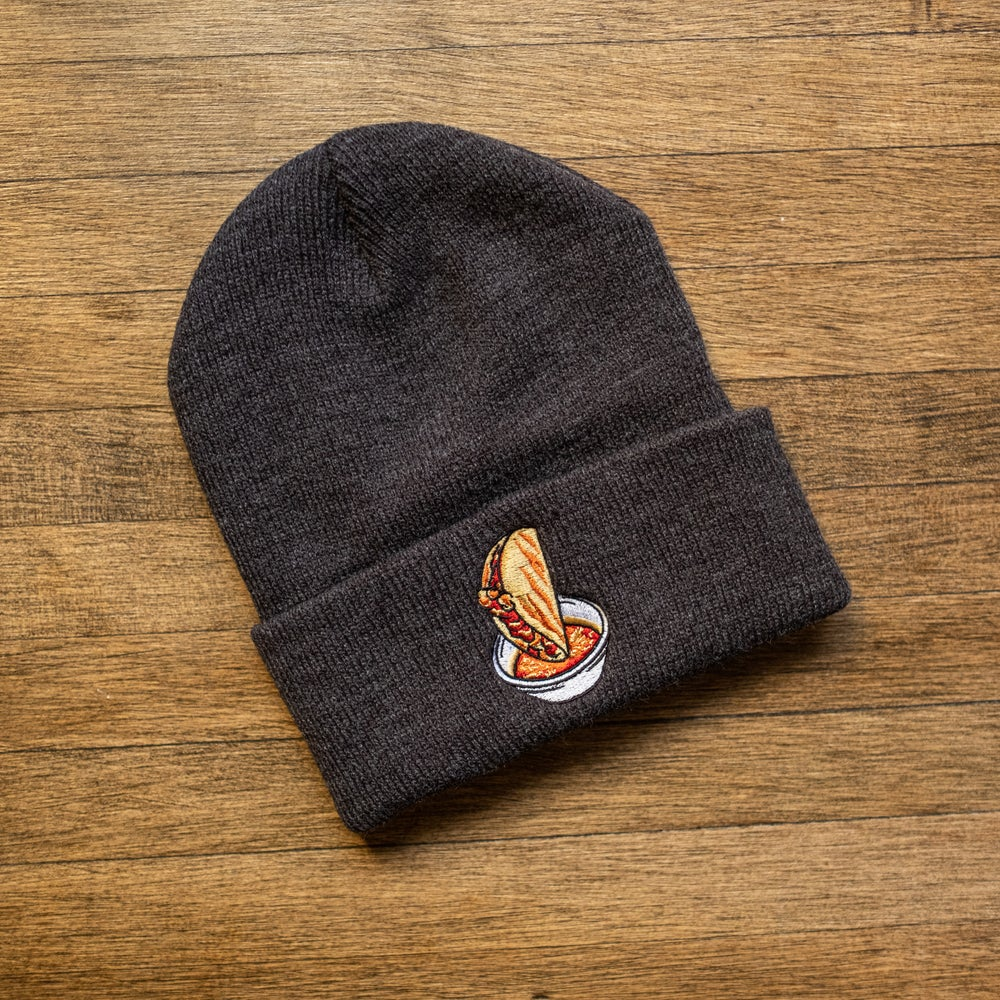 The Quesabirria Beanie on Charcoal