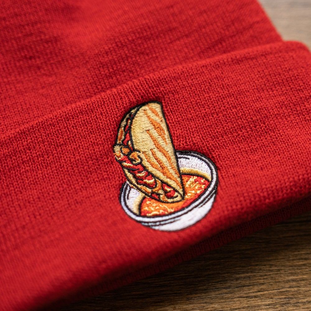 The Quesabirria Beanie on Red