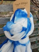 Image of Superfine Australian Merino Wool Scarf - Shibori Dyed - Blue/Natural