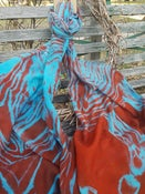 Image of Pure Wool Scarf - Shibori dyed - Blue/Orange