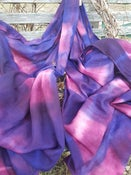 Image of Pure Wool Scarf/Wrap - Shibori dyed - Purple /Pink