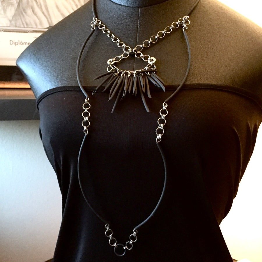 Image of OOAK - Black Urchin Extra Long 2-Tier Necklace
