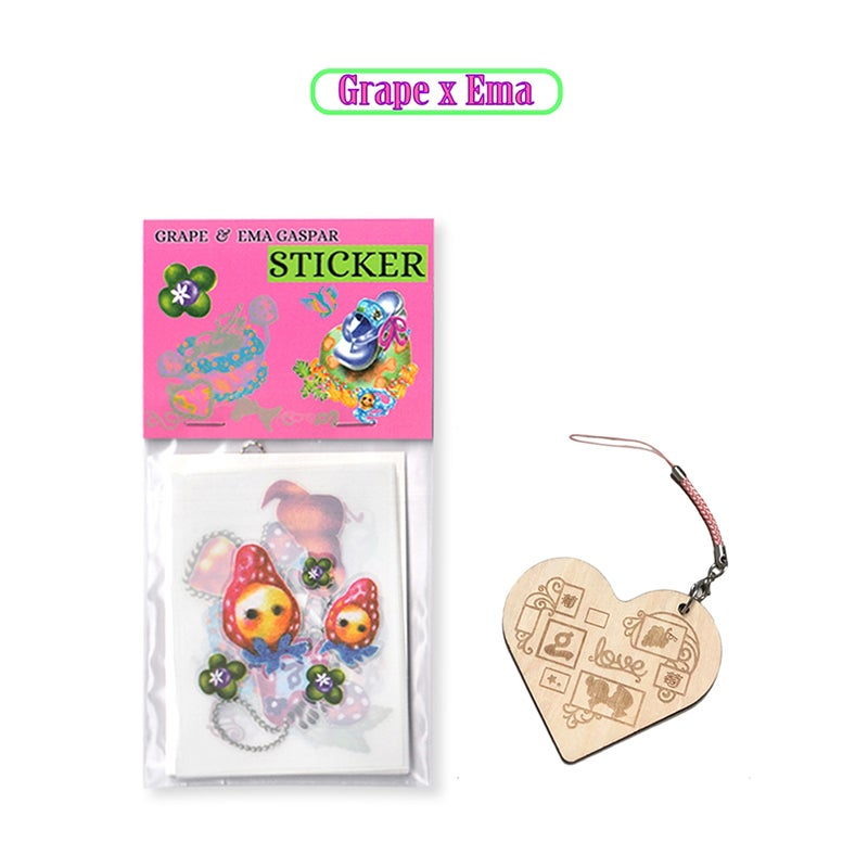 Image of GRAPE * Ema Gaspar   Scratch sticker and key chain set