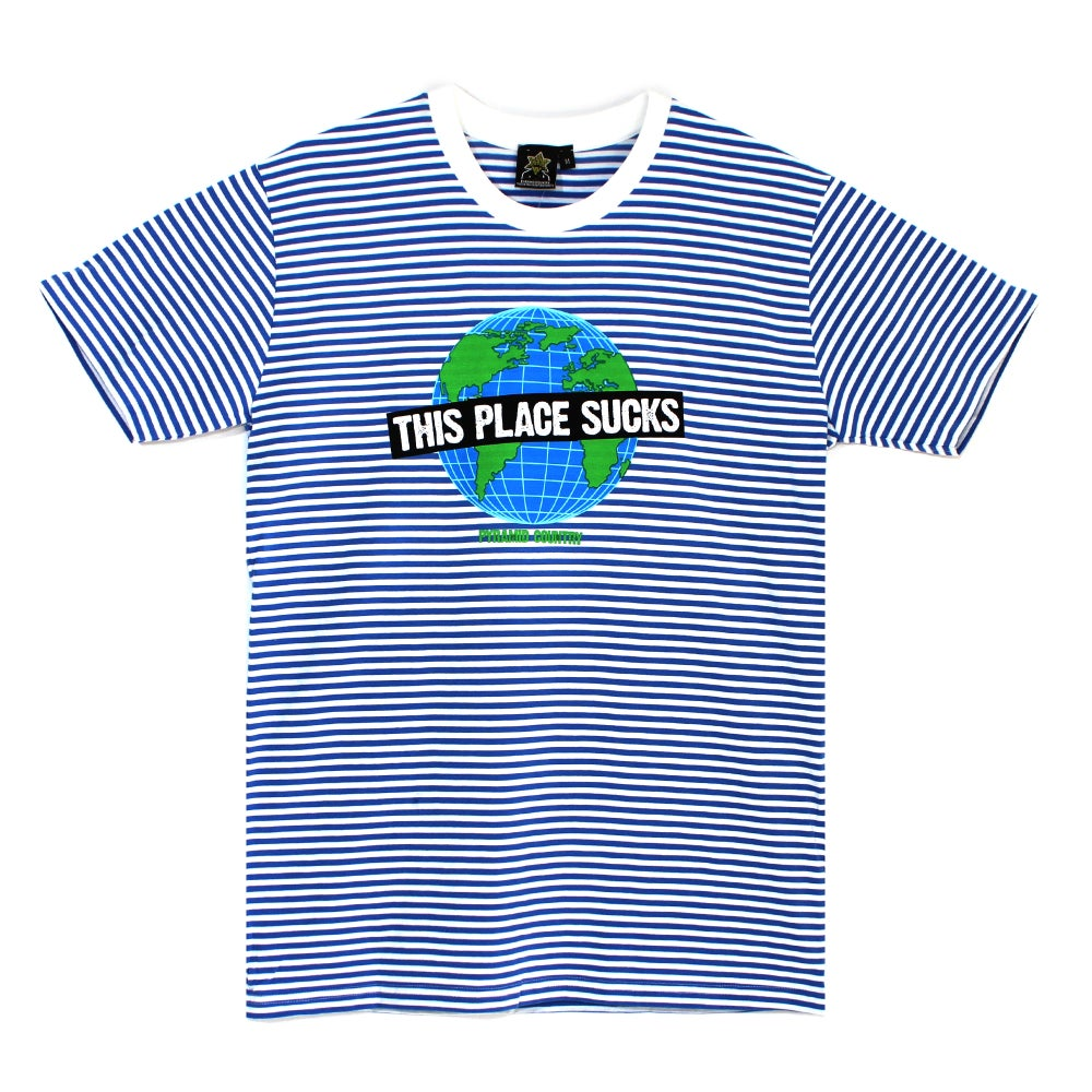 Image of This Place Sucks Tee (Blue & White)