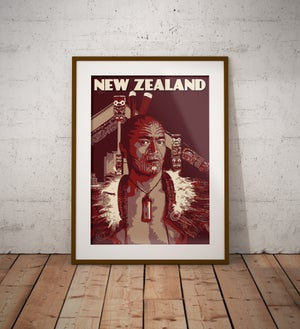 Image of Vintage poster New Zealand - Maori Chief with Tattoo - Maori Wall Art - Fine Art Print