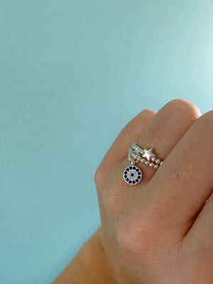 Image of Sterling Silver Diamanté Evil Eye Charm Ring
