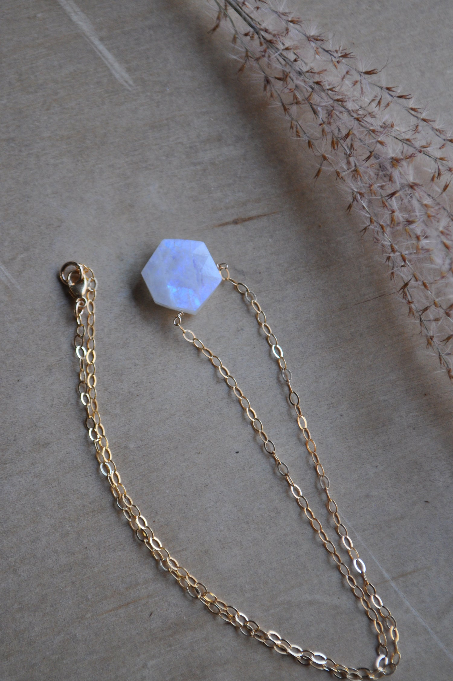 Image of Moonstone Hexagon Necklace on Gold Fill (#3)