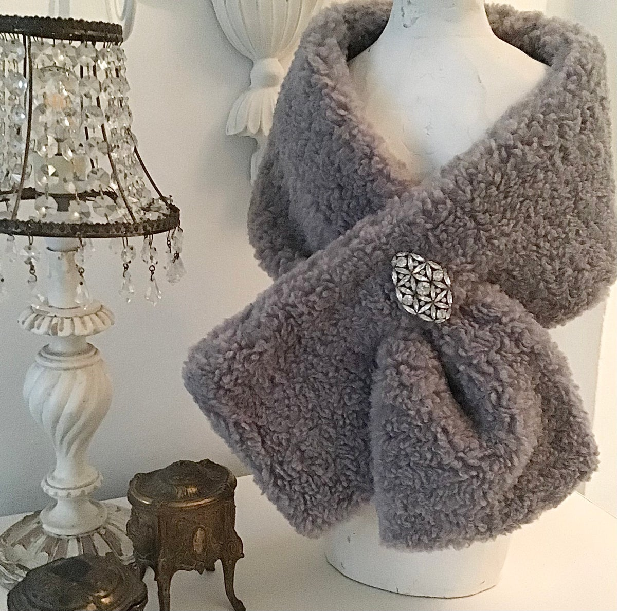 Image of Teddy Faux Fur Snood in Grey or Pink
