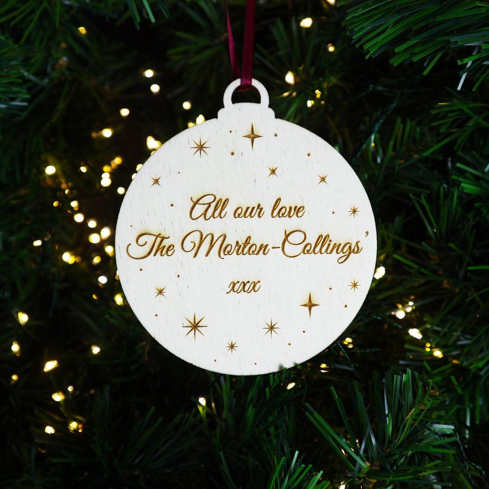Image of Personalised Woodcut Christmas Decoration - Gift Boxed