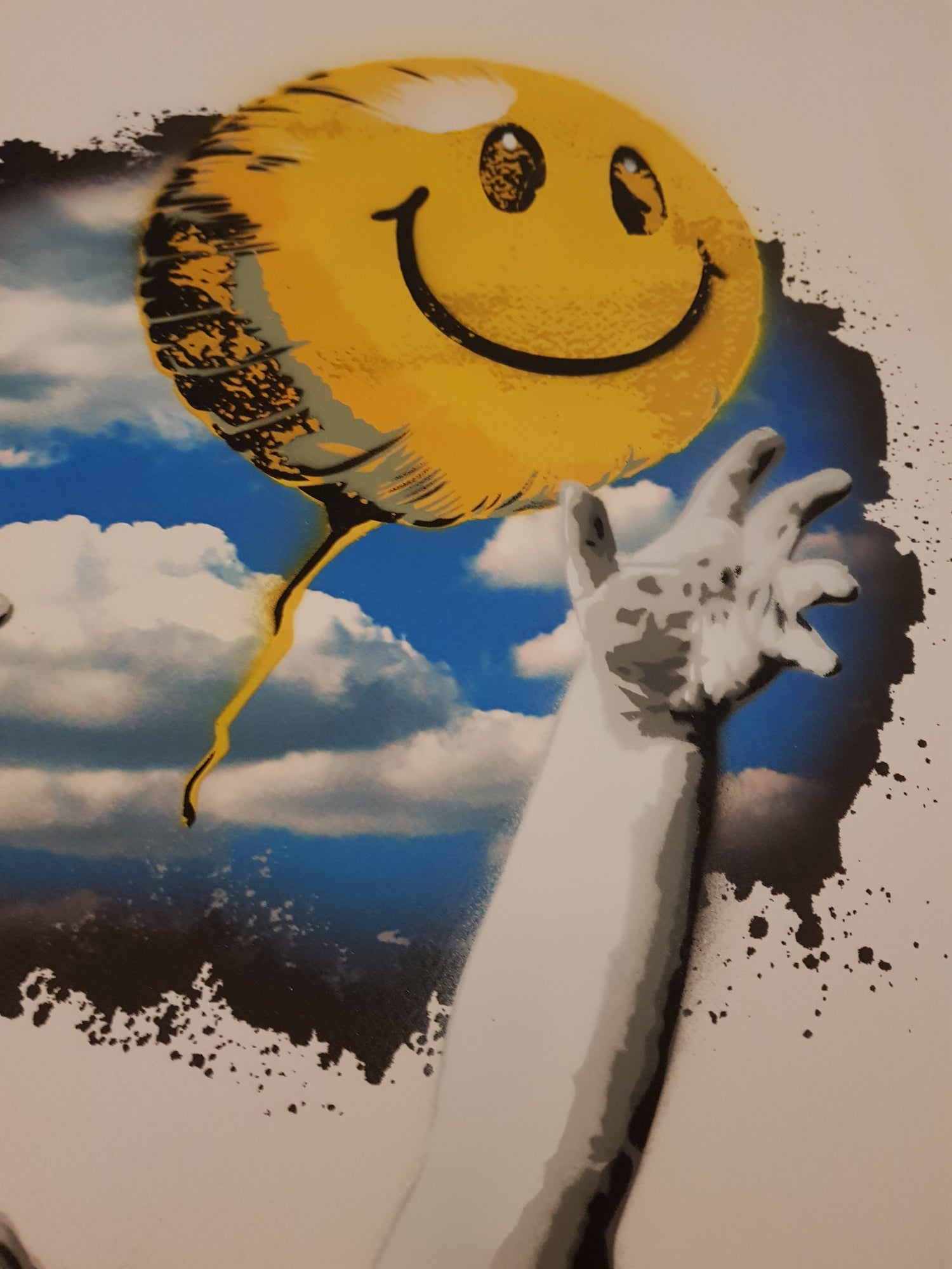 """Image of ALESSIO-B """"OFF THE WALL - SMILEY"""" - UNIQUE HAND FINISHED EDITION OF 3 - 50CM X 70CM"""
