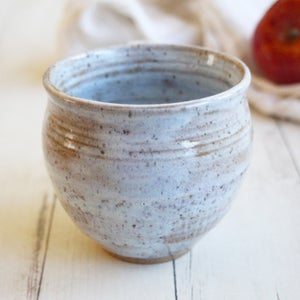 Image of Rustic Pottery Mug in Ice Blue White Glaze, 14 oz. Handcrafted Coffee Cup B, Made in USA