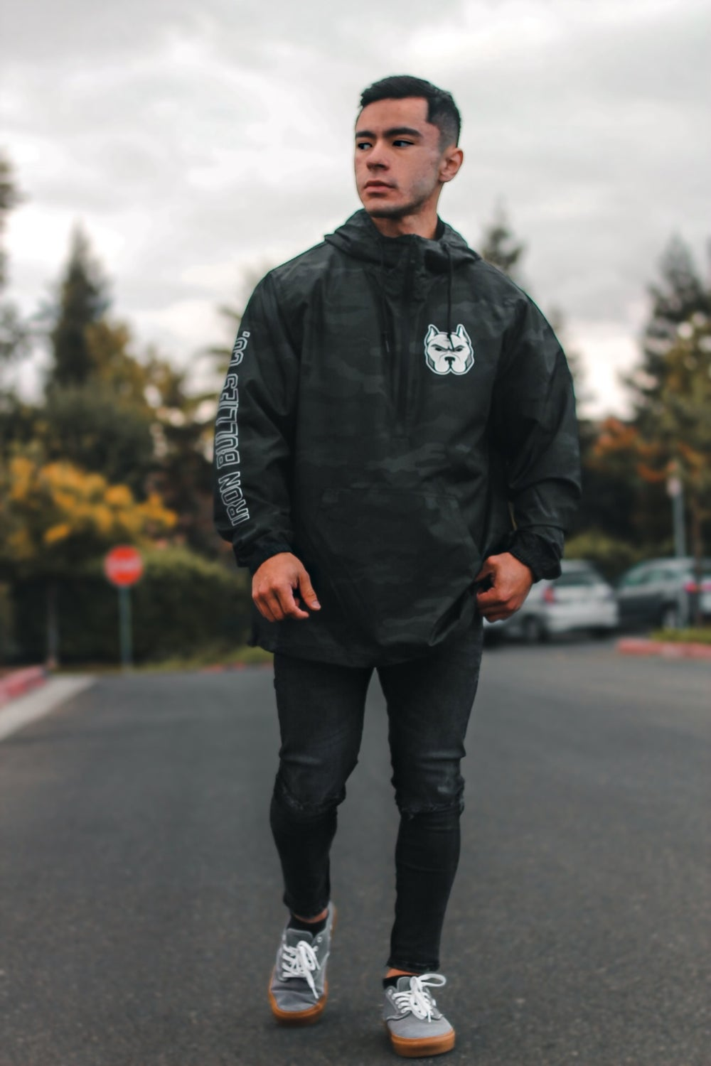 Black Camouflage Windbreaker