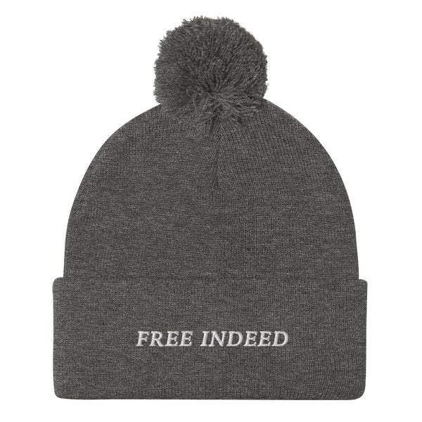 Image of Free Indeed Pom-Pom Beanie (Black, Grey, Red)