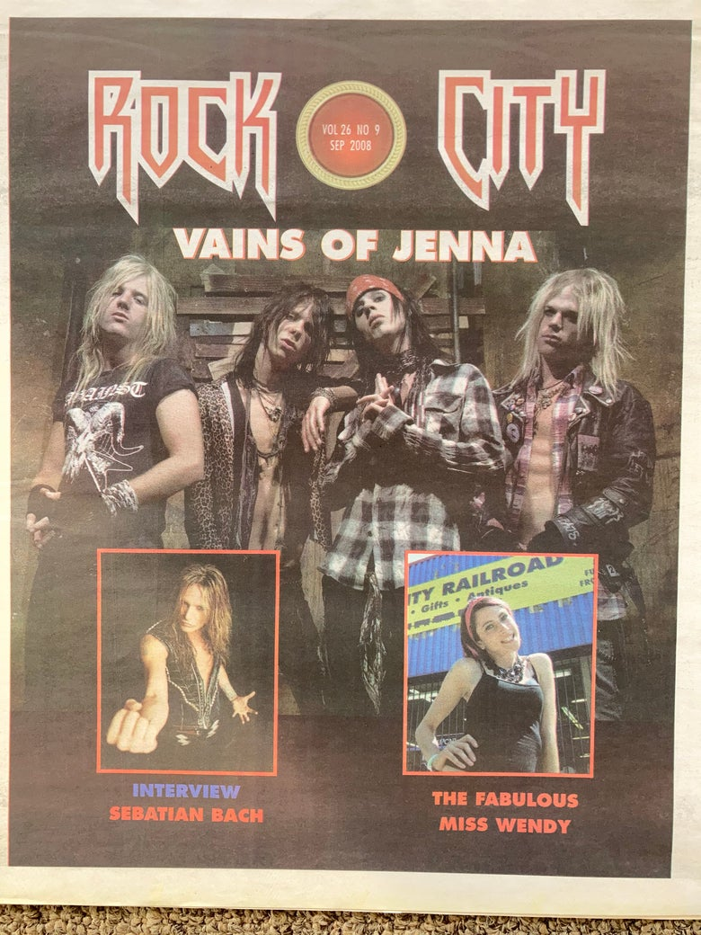 Image of Rock City News Vains Of Jenna cover issue Sept. 2008 Lizzy DeVine Sebastian Bach