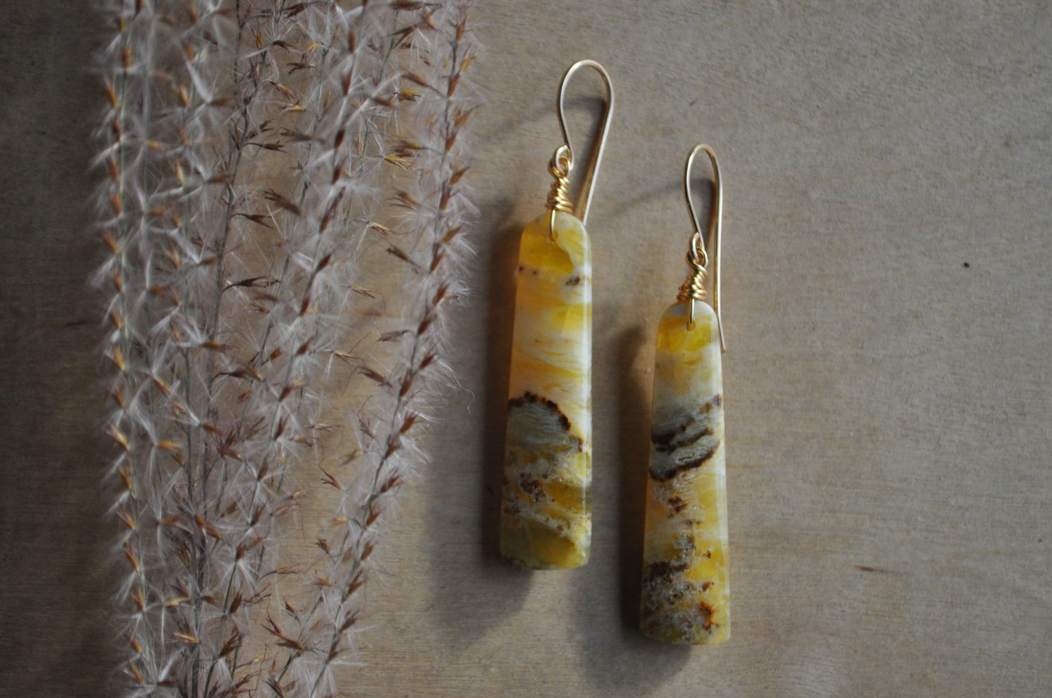 Image of One of a Kind Yellow Opal Bar Dangles