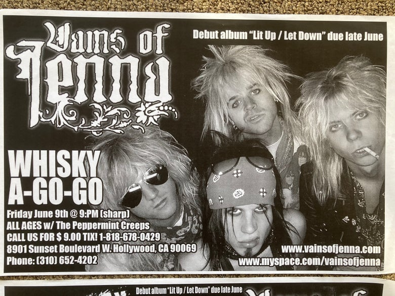 Image of Vains of Jenna Hollywood 2 posters +2 8x10s Whisky-A-Go-Go Catclub Lizzy DeVine