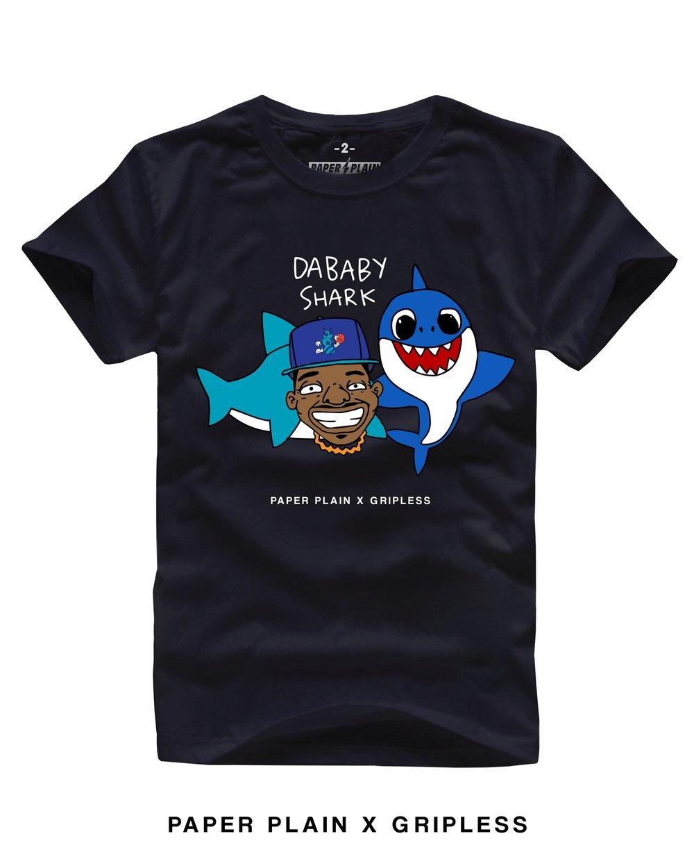 DA BABY SHARK TEE BLACK (GRIPLESS COLLAB)