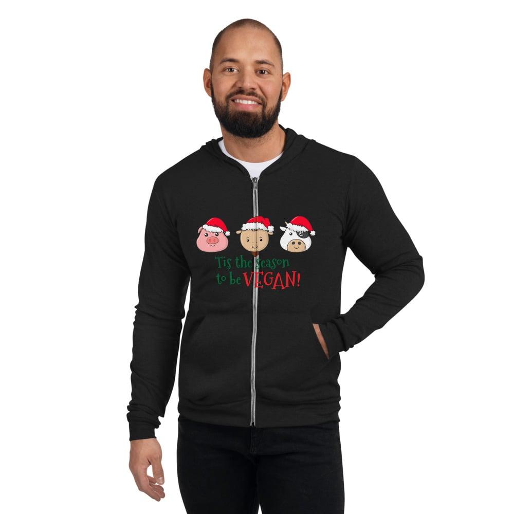 Image of Unisex Holiday Vegan zip hoodie