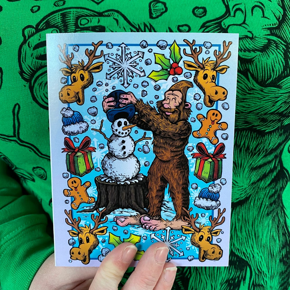 Holiday Card **SET OF 5**- Do you wanna build a Snowman, Mr. Foot?