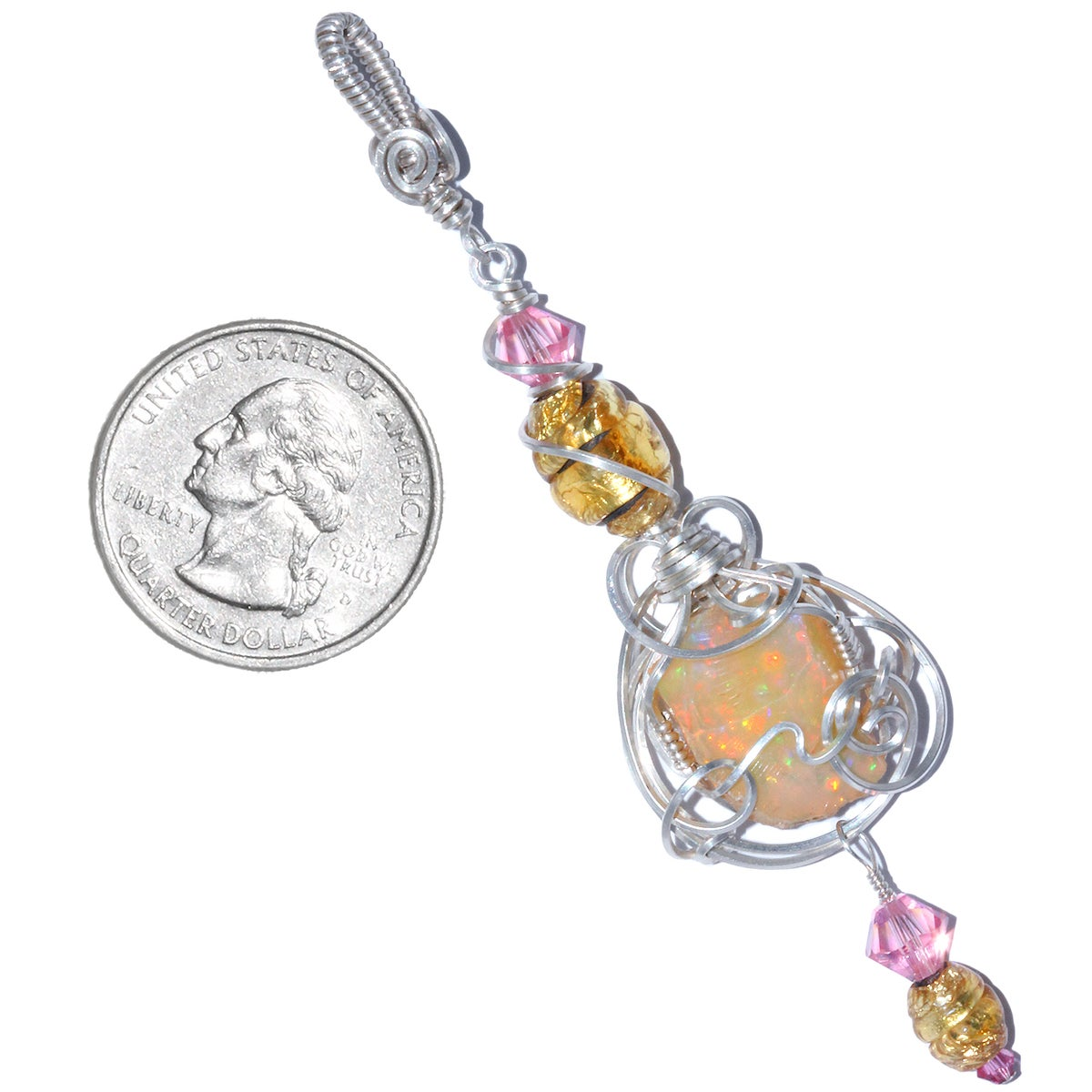 Ethiopian Opal Pendant with Antique Venetian Glass Foil Beads
