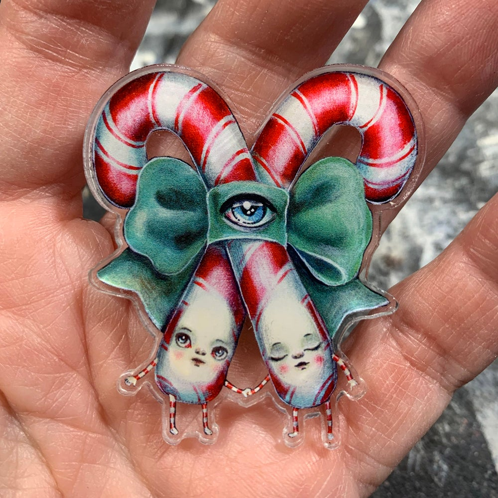 Image of Candy Cane Twins (Acrylic Pin)