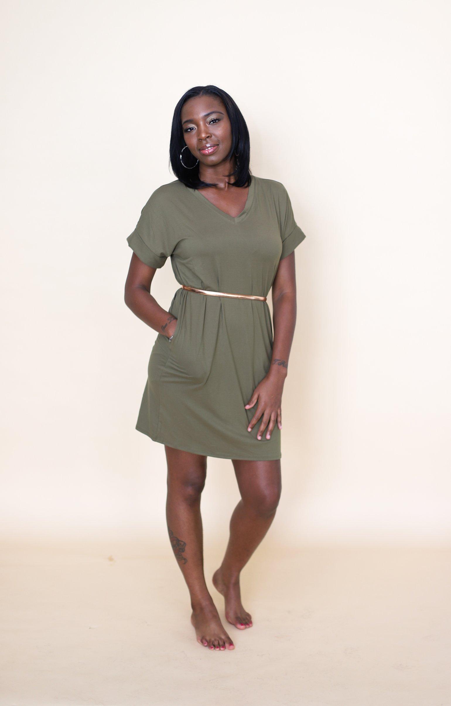 Image of Hautie Olive Short Dress