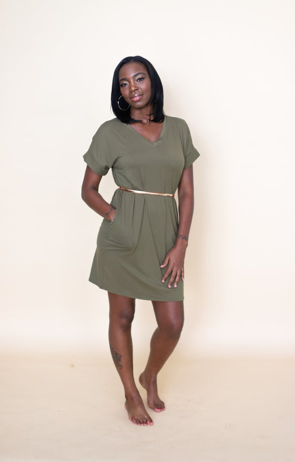 Image of Hautie Olive Short Dress