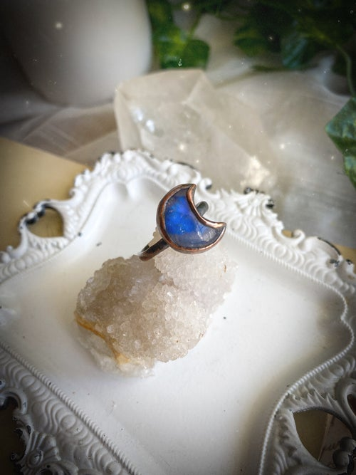 Image of Rainbow Moonstone Moon Goddess Ring