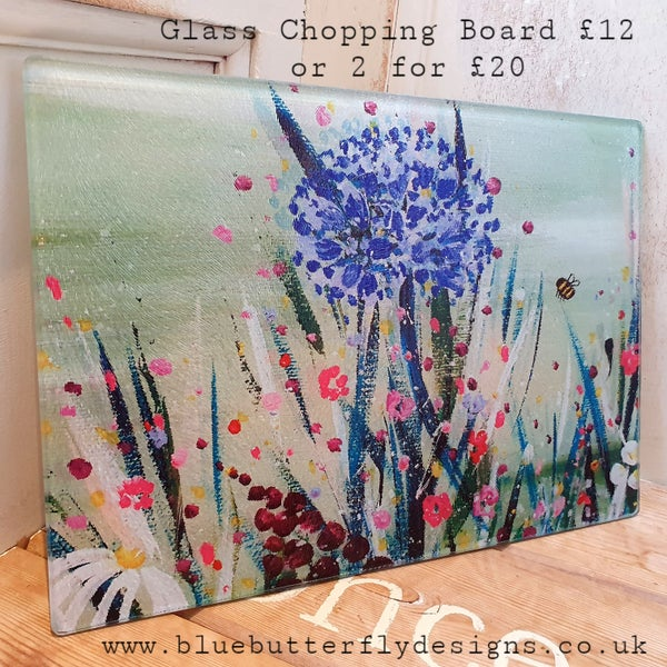 Image of Agapanphus & Bumblebee Glass Chopping Board