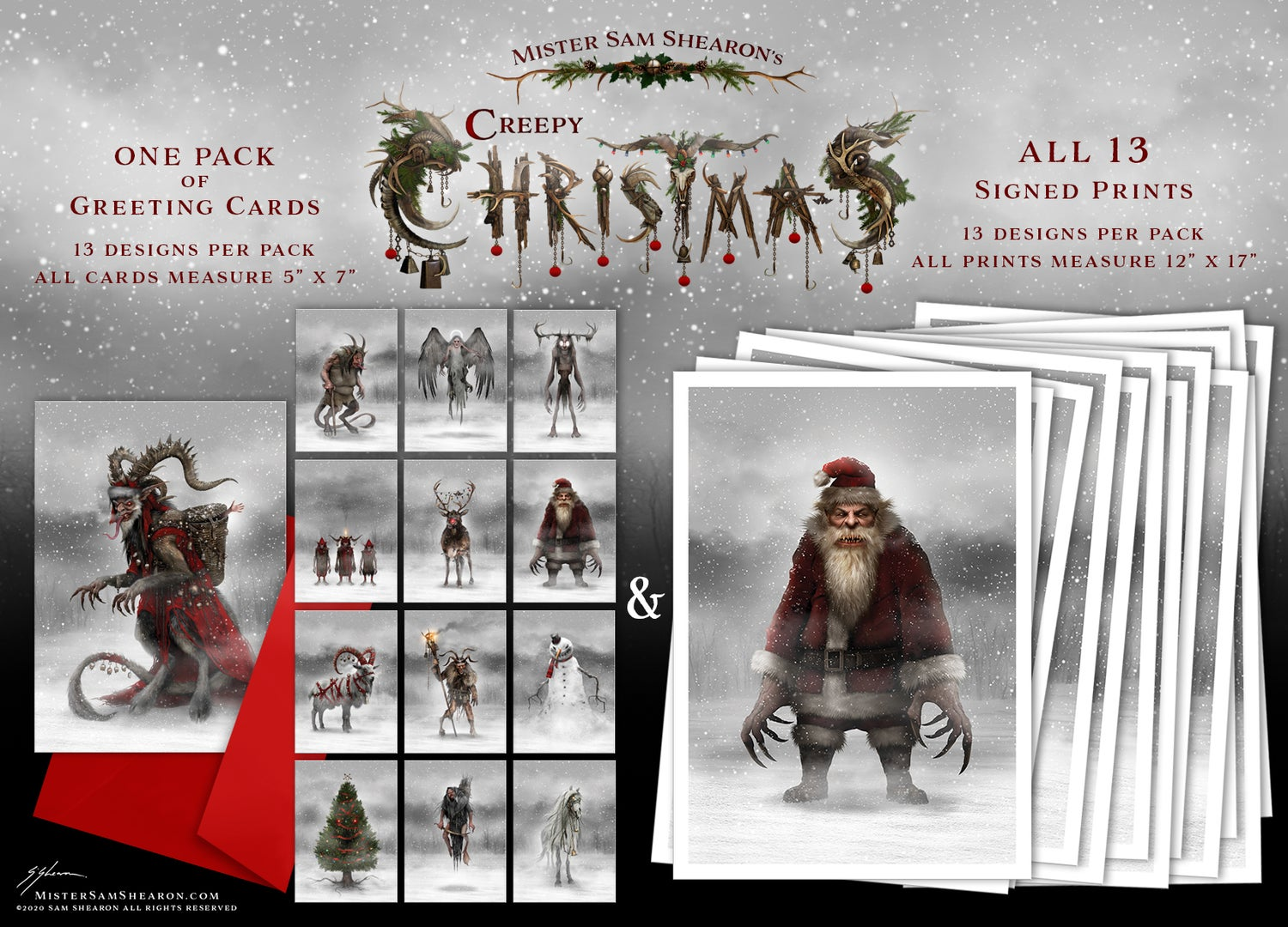 One Pack of Greeting Cards & ALL 13 Signed Prints!