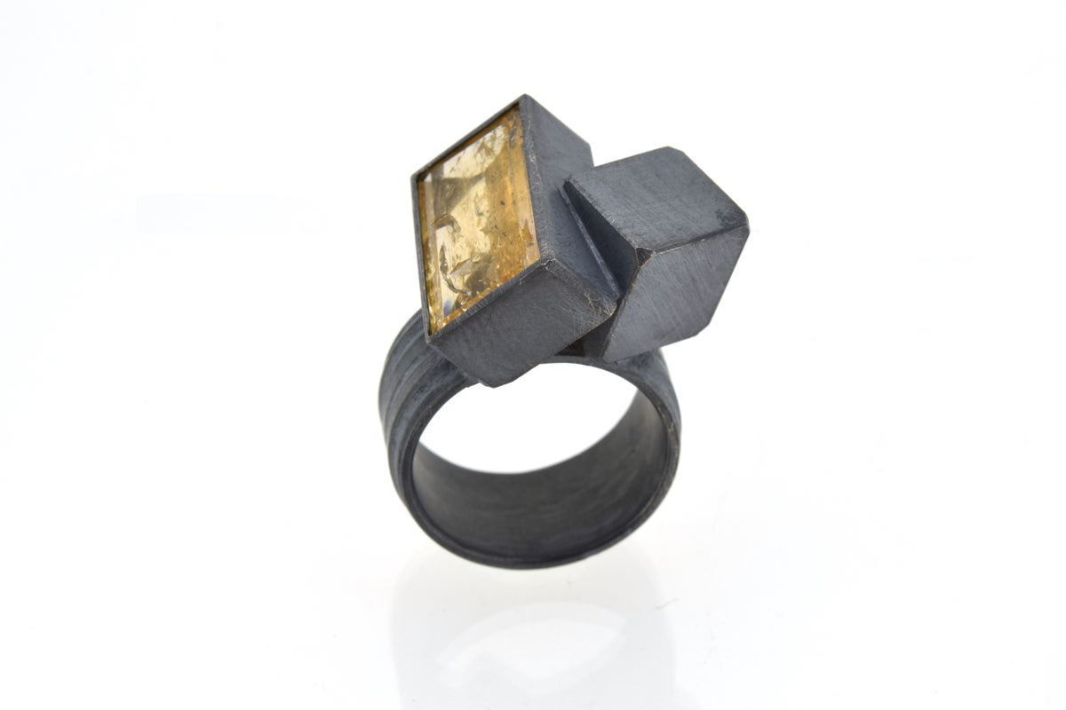 Topaz and cube sculptural ring in oxidised sterling silver by Chris Boland