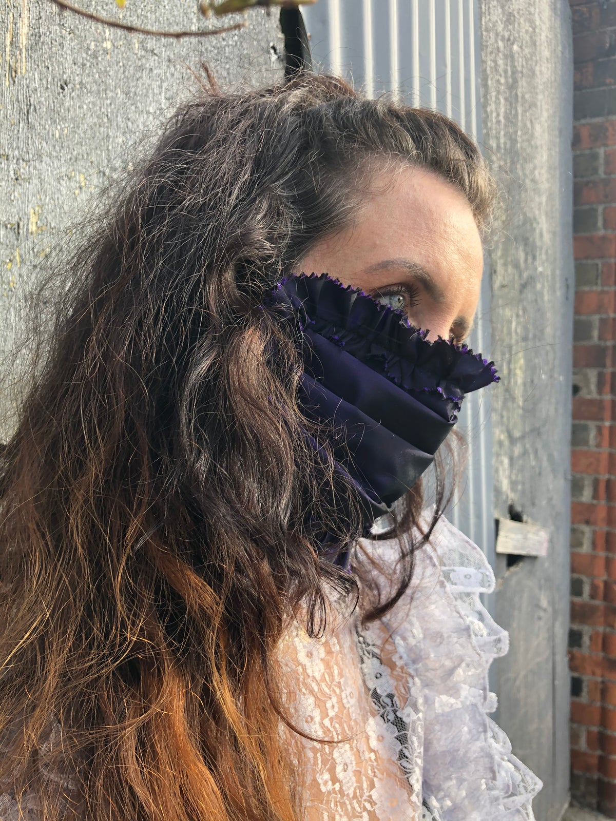Image of Violet Ruched and Pleated Silk Taffeta Mask