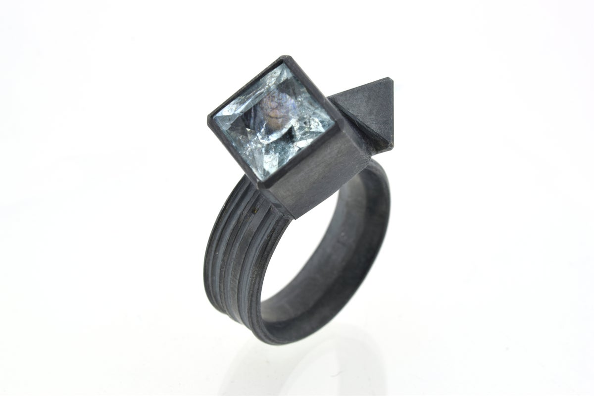 Cube and octahedron ring. aquamarine set in oxidised sterling silver
