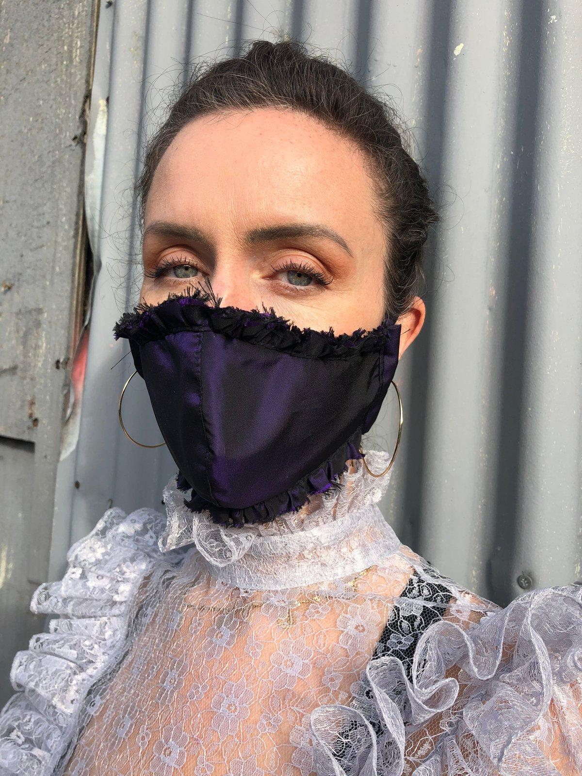 Image of  Deep Violet Silk Shot Taffeta Face covering