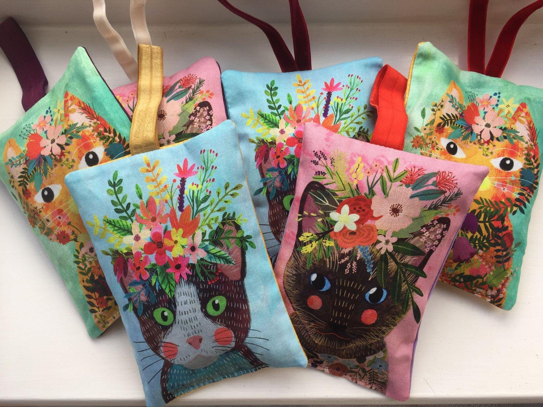 Image of Floral Cat Lavender Bags