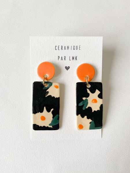 Image of Paire de boucles d'oreilles céramique TOTEM RECTANGULA GM FLOWERS